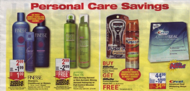 Some of the single check rebates this week 2/8/09 at RiteAid