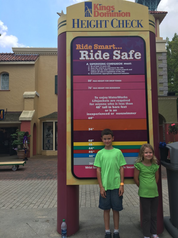 Kings Dominion Rides Height Requirements Check Chart for Kids with Wristbands