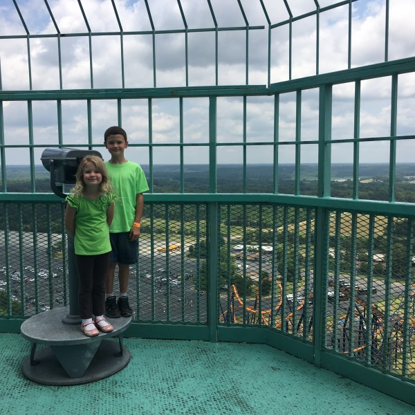 Panoramic Birds Eye View from 315 feet up in Kings Dominion Eiffel Tower family-friendly attraction