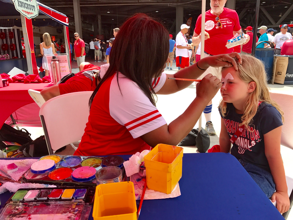 Face painting and fun activities at Nationals Baseball Family Funday