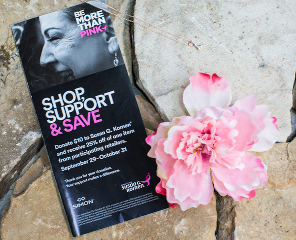 Potomac Mills More Than Pink Discount Booklet Gives you 25% off at over 50 retailers to support Susan G. Komen