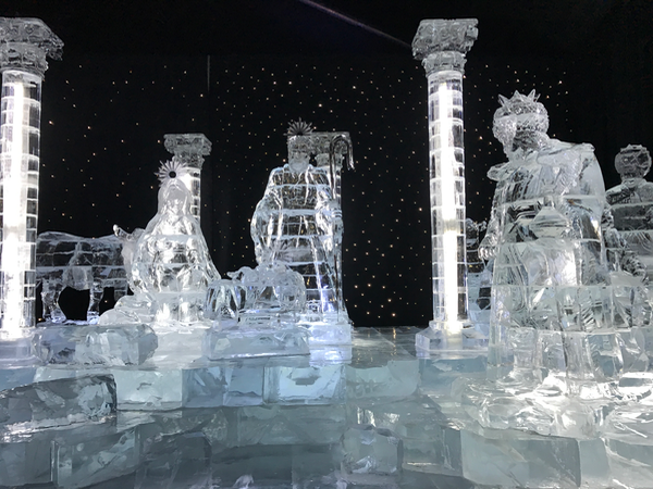 Gaylord National ICE crystal clear Nativity Scene in Oxon Hill MD